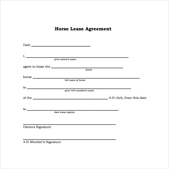 Sample Horse Lease Agreement   Free Documents In  Word