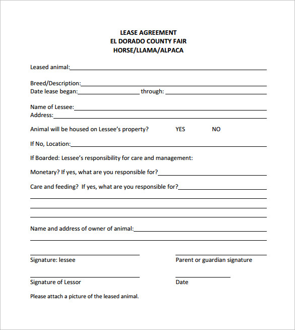 simple example of horse lease agreement