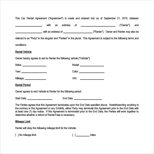 8 car lease agreement templates samples examples for Motor vehicle lease agreement template