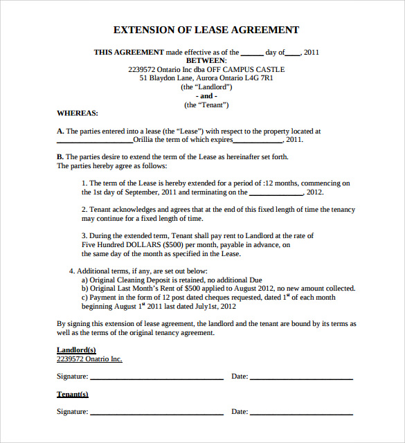 Lease Extension Agreement - 8+ Samples, Examples & Format