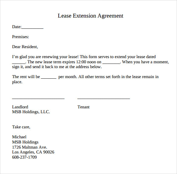 Lease Extension Agreement   Samples Examples  Format