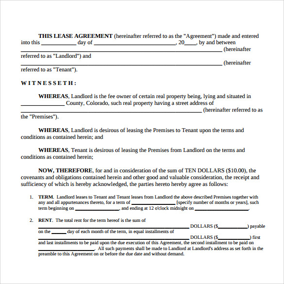 Sample Simple Lease Agreement Template   Free Documents In Pdf Word
