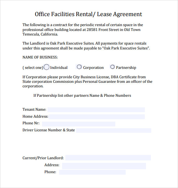 Sample Office Lease Agreement   Free Documents Word Pdf