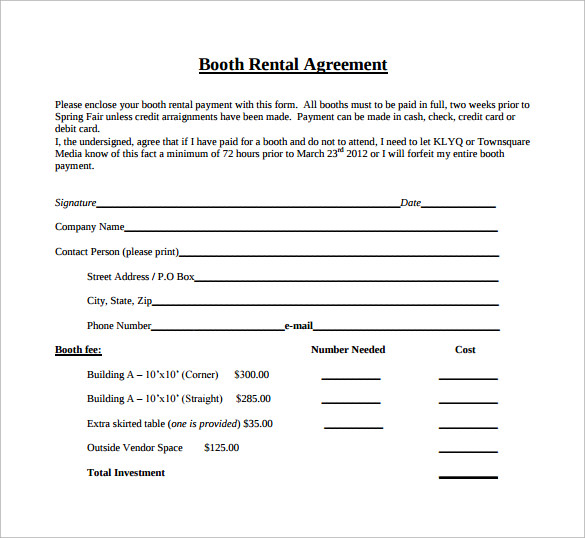 booth rental agreement template1
