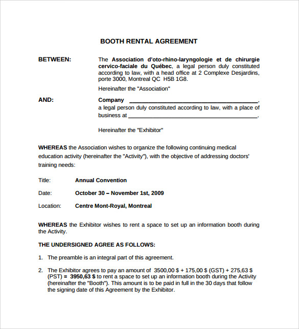 Sample Booth Rental Agreement   Documents In Pdf Word