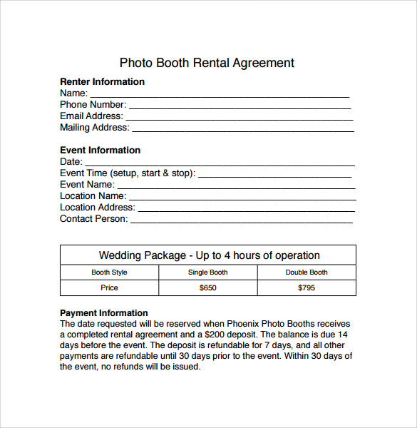 Sample Booth Rental Agreement 7 Documents in PDF Word – Event Agreement Template