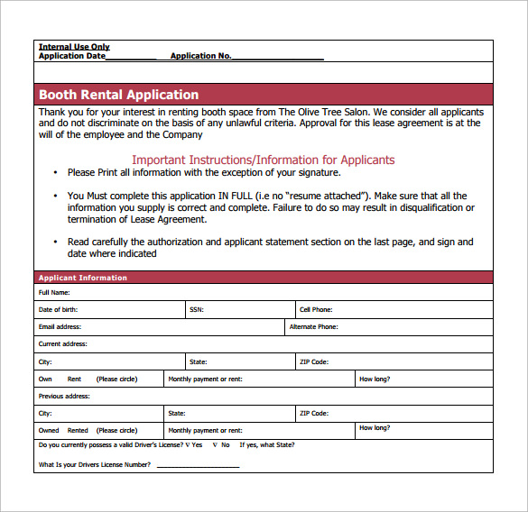salon booth rental agreement example