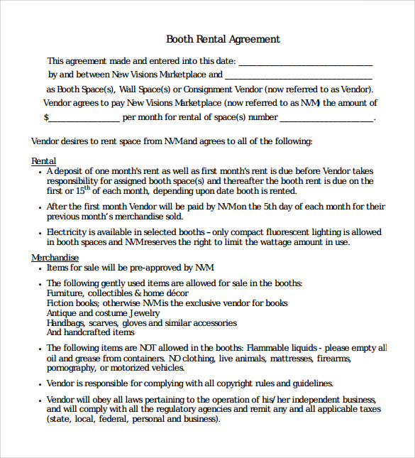 Sample Booth Rental Agreement 7 Documents in PDF Word – Booth Rental Agreement