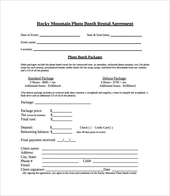 Sample Booth Rental Agreement - 7+ Documents In Pdf, Word