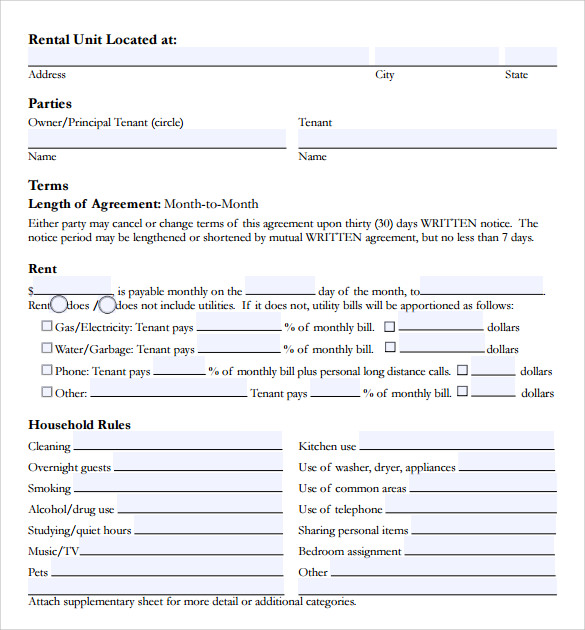 Sample Room Lease Agreement Template    Free Documents In Pdf Word