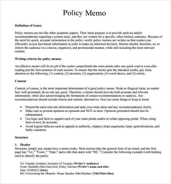 Sample Policy Memo   Documents In Word Pdf