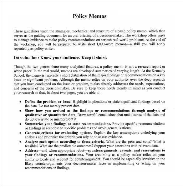 sample policy memo - 10+ documents in word, pdf