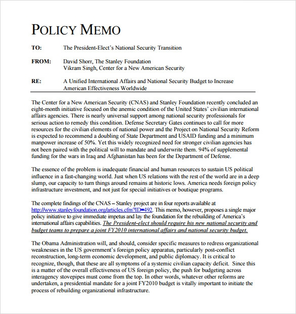 sample policy memo