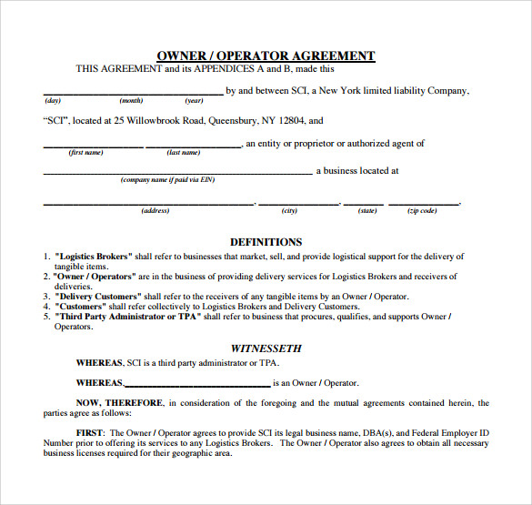 Owner Operator Lease Agreement Templates 6 Samples