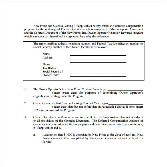 owner operator lease agreement sample template