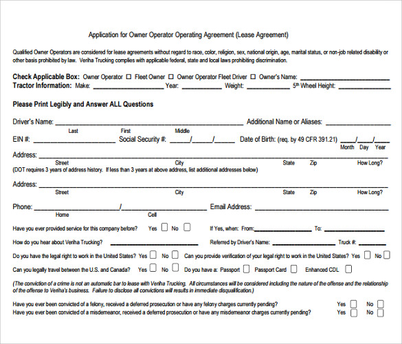 Owner Operator Lease Agreement Templates   Samples  Examples