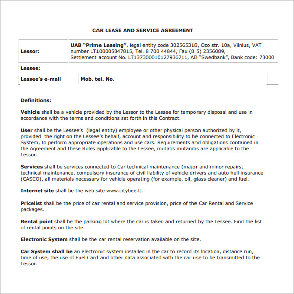 Sample Vehicle Lease Agreement Template 14 Free Documents In Pdf