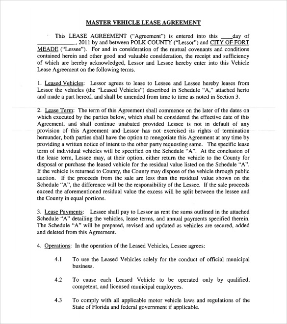 Sample Vehicle Lease Agreement Template 10 Free Documents in – Car Lease Contract Template