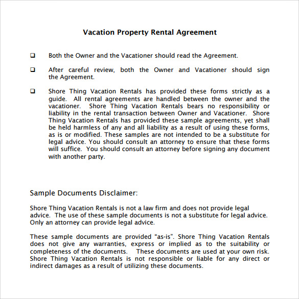 Vacation Rental Agreement 10 Samples Examples & Format