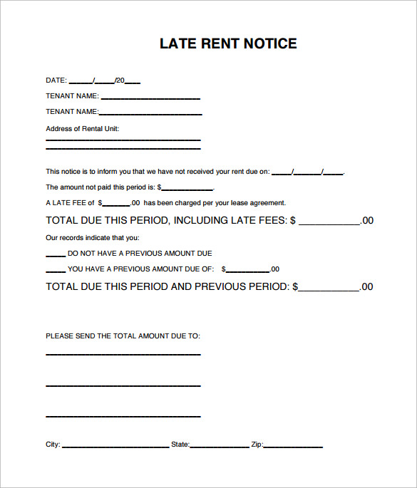 Late Rental Notice Templates   Samples Examples  Format