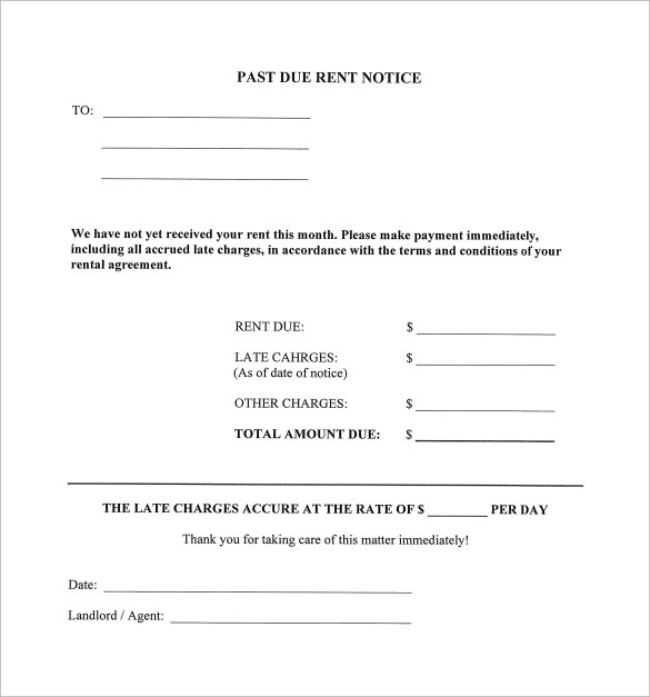 late rent notice template example