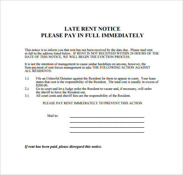 notice of past due rent template