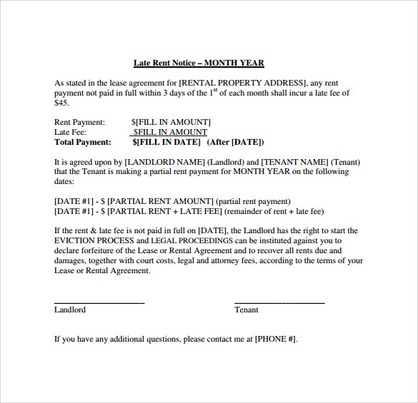 sample late rent notice template