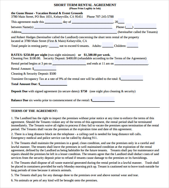 sample vacation rental agreement