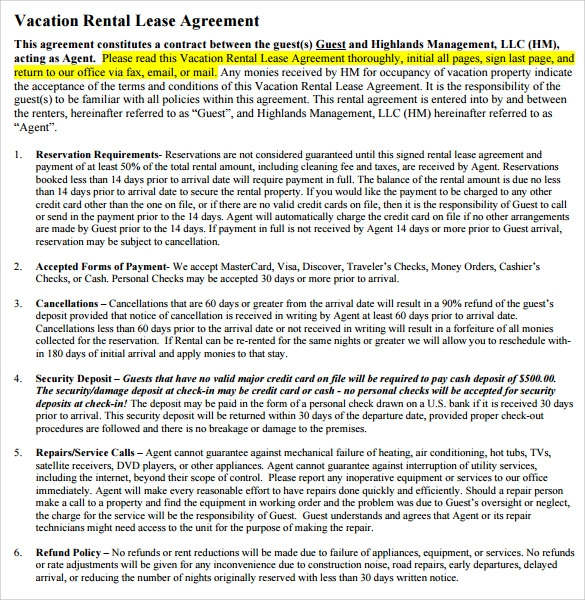 Vacation Rental Agreement   Samples Examples  Format