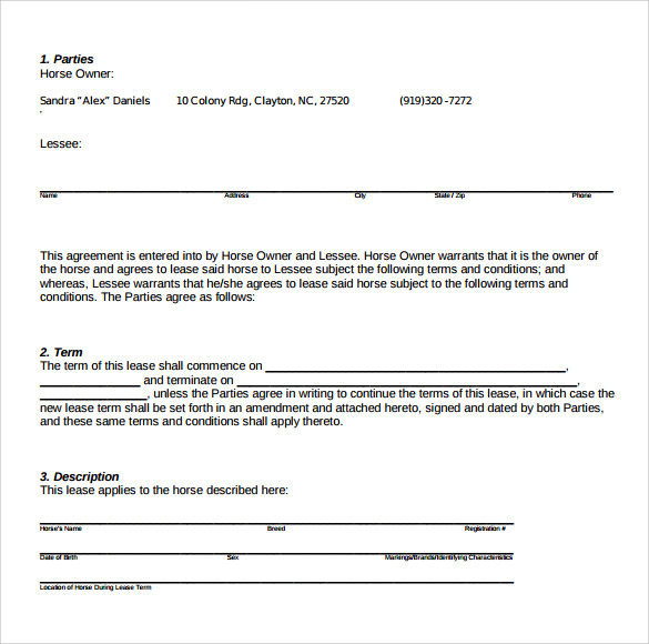 Sample Pasture Lease Agreement Templates 7 Free Documents in PDF – Sample Pasture Lease Agreement Template