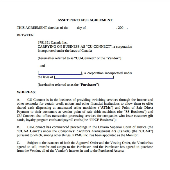 Asset Purchase Agreement   Download Free Documents In Pdf Word