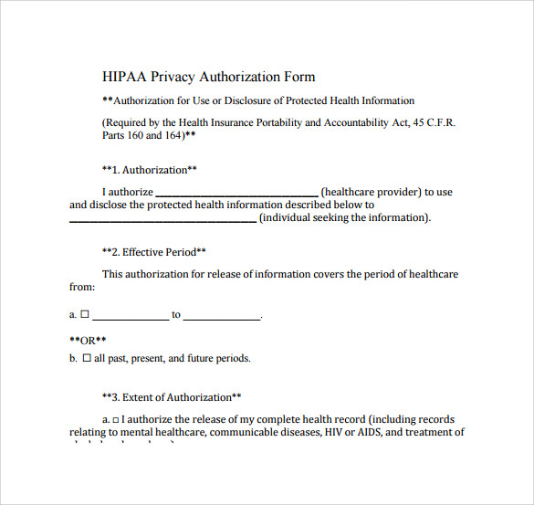 Hipaa Authorization Form   Documents Download In Pdf Word