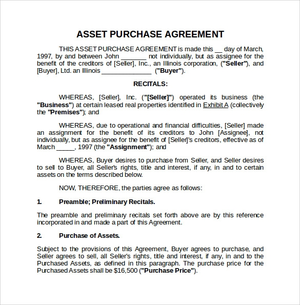 Asset Purchase Agreement 8 Download Free Documents in PDF Word – Asset Purchase Agreements
