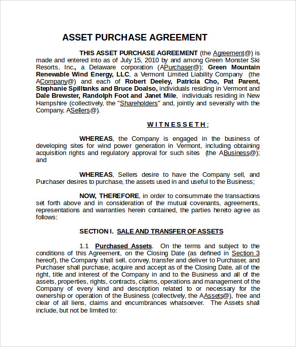 printable asset purchase agreement