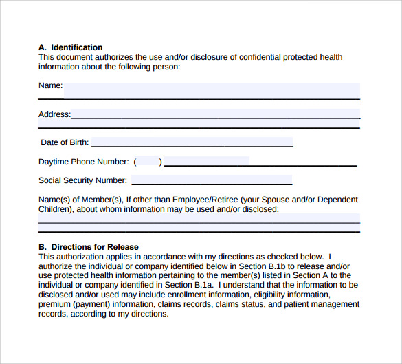 Hipaa Authorization Form 8 Documents Download In Pdf Word