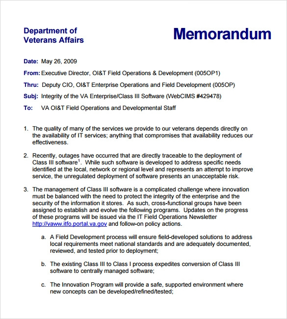 sample formal memorandum template 7 download documents in pdf word