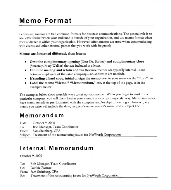 11+ Formal Memorandum Templates - Free Sample, Example, Format