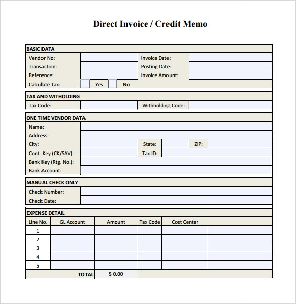 8 credit memo samples sample templates