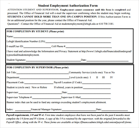 Employment Authorization Form Example WorkAuthorizationCover