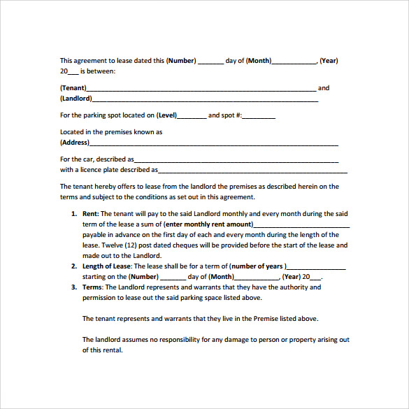 Parking Lease Agreement Templates   Samples  Examples  Format