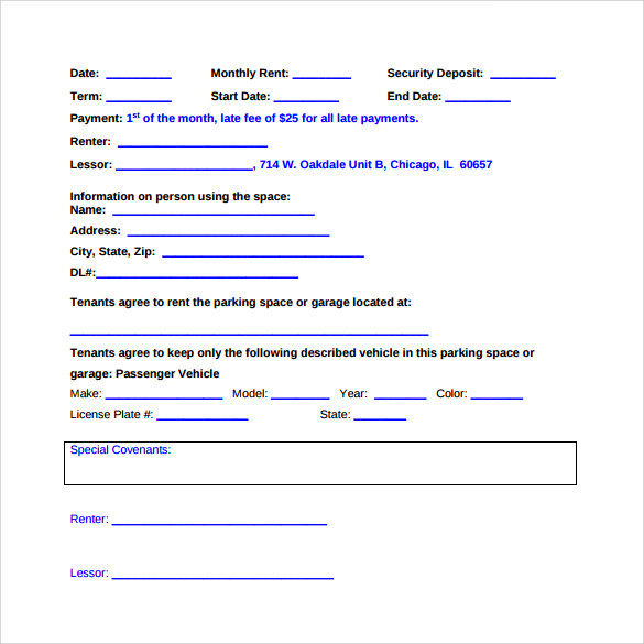 7 parking lease agreement templates  u2013 samples   examples  u0026 format