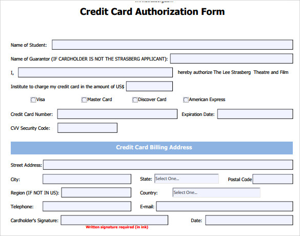 Credit Card Authorization Form 6 Download Free Documents
