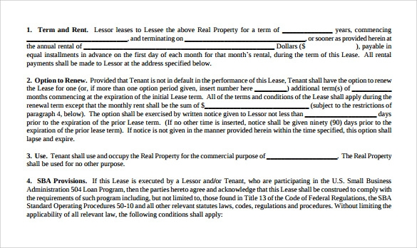 Business Lease Agreement Templates 6 Sample Examples Format – Business Lease Agreement