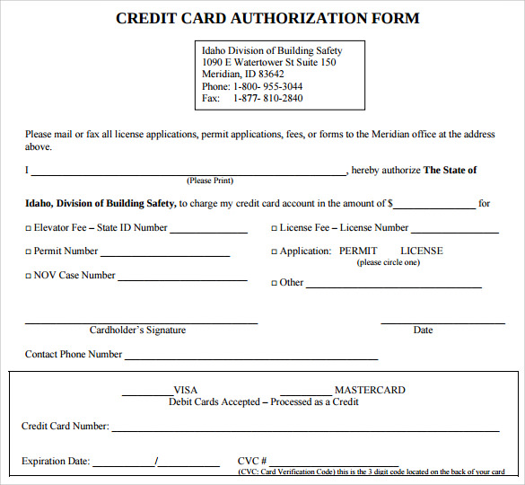Credit Card Authorization Form   Download Free Documents In Pdf