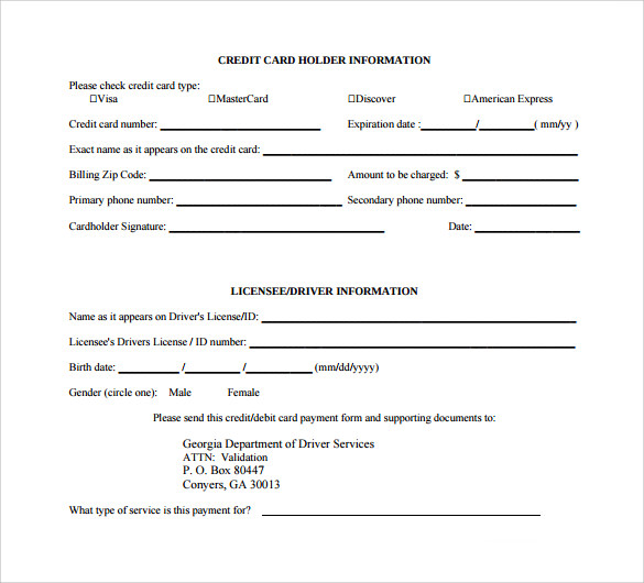 Free Credit Card Authorization Form Authorization For Credit Card