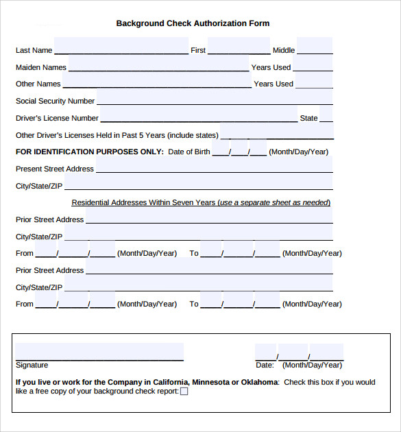 background check form template free - 11 background check authorization forms to download