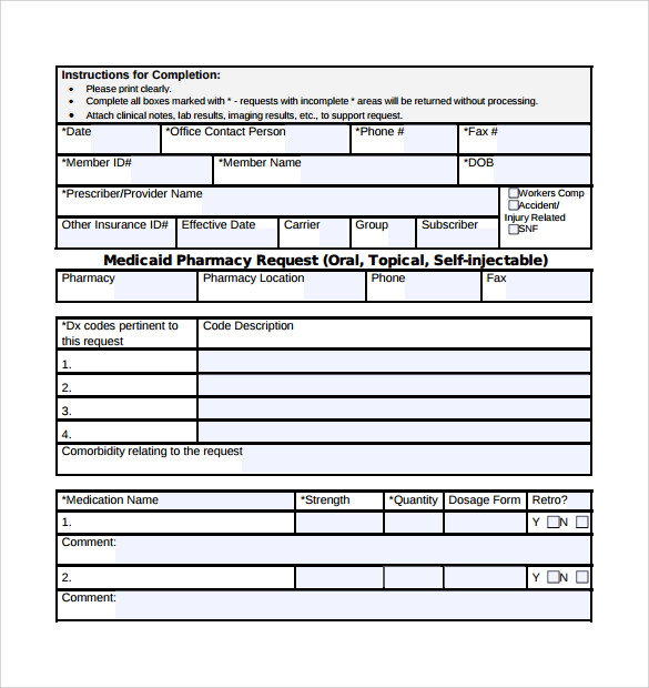 Medicaid Prior Authorization Form Download Free Documents In Pdf