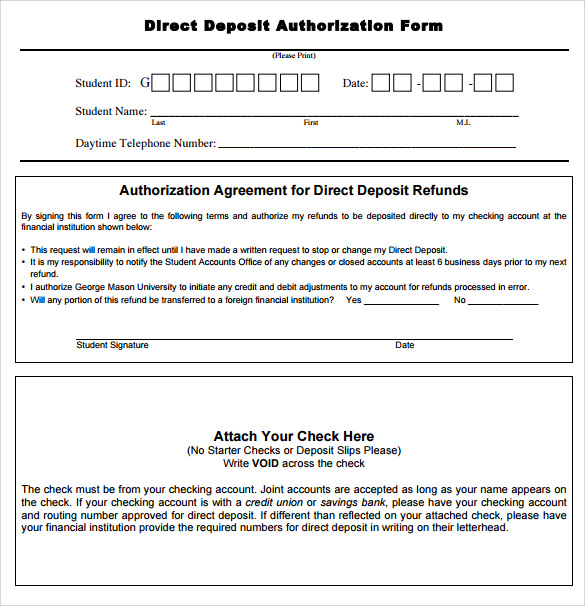 Sample Direct Deposit Authorization Form Examples - 7+ Download