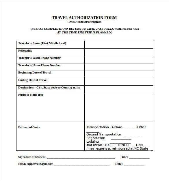 printable travel authorization form