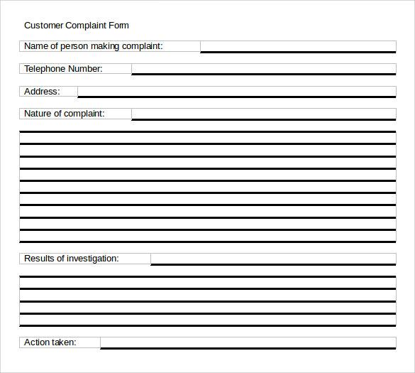 word format complaint form